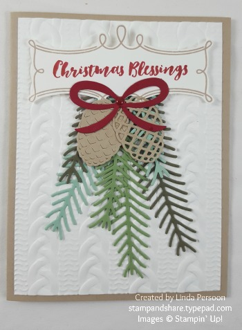 Christmas Pines Card with Cable Knit Textured Impressions Embossing folder by Linda Persoon stampandshare.typepad.com