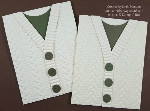 Cable Knit Embossing Folder Sweater Card Duo