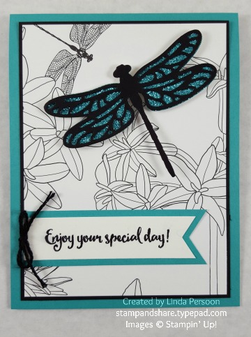 Dragonfly Dreams Card with Inside the Lines Designer Paper by Linda Persoon stampandshare.typepad.com