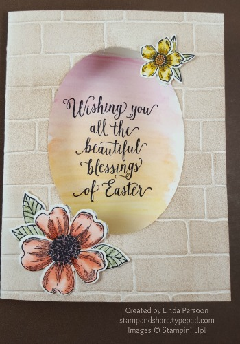Flower Shop Watercolor Card with Brick Wall Textured Impressions Embossing Folder by Linda Persoon stampandshare.typepad.com