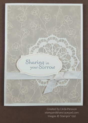 Lace Doillies Sympathy Card with Thoughts & Prayers stamp set by Linda Persoon stampandshare.typepad.com