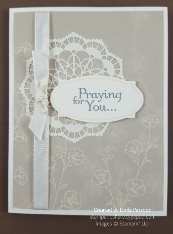 Lace Doillies Praying Card with Thoughts & Prayers stamp set by Linda Persoon stampandshare.typepad.com