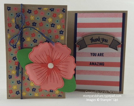 Thoughtful Banners Z Fold Card with Bunch of Blossoms stamp set & Night of Navy accents by Linda Persoon stampandshare.typepad.com #stampinup