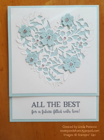 Bloomin' Hearts Thinlits Wedding Card with Better Together stamp set by Linda Persoon stampandshare.typepad.com #stampinup