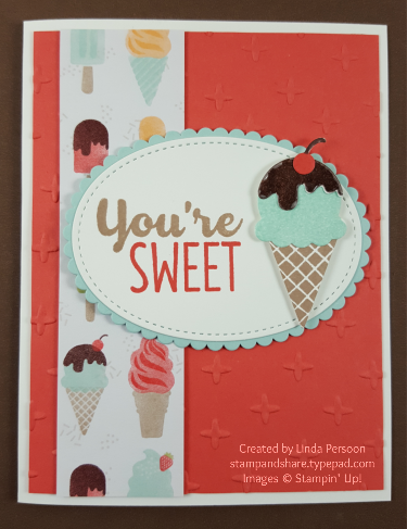 Cool Treats Card with Sparkle Embossing Folder by Linda Persoon stampandshare.typepad.com