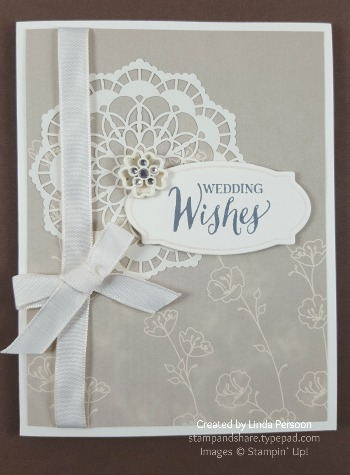 Lace Doillies Wedding Card with Rose Wonder stamp set by Linda Persoon stampandshare.typepad.com