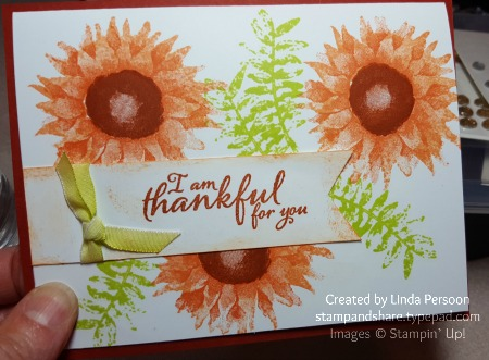 Painted Harvest Thankful Card in Cajun Craze by Linda Persoon stampandshare.typepad.com