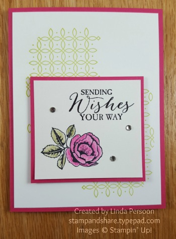 Graceful Garden Card with Watercolor Pencils by Linda Persoon stampandshare.typepad.com