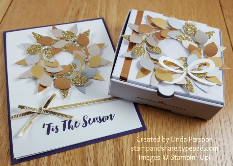 Leaf Punch Mini Pizza Box & Card by Linda Persoon stampandshare.typepad.com