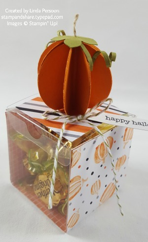 Pumpkin Treat Box with Halloween Night Designer Series Paper and 3D Pumpkin by Linda Persoon stampandshare.typepad.com