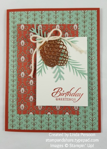 Petals & Paisleys Fall Birthday Card with Pretty Pines Thinlits by Linda Persoon stampandshare.typepad.com