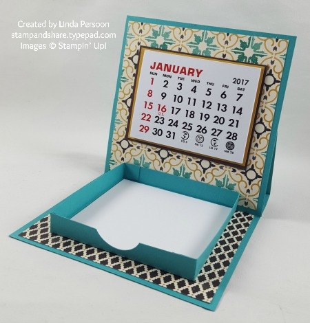 Desk Calendar 4x4 with Moroccan Designer Series Paper by Linda Persoon stampandshare.typepad.com