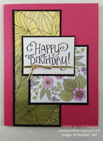 Inside the Lines Card with Watercolor Pencils & Sponge Brayer by Linda Persoon stampandshare.typepad.com