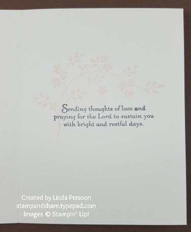 Lace Doillies Sympathy Card inside with Thoughts & Prayers stamp set by Linda Persoon stampandshare.typepad.com