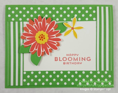 Flower Patch Birthday Card with Flower Fair Framelits by Linda Persoon stampandshare.typepad.com