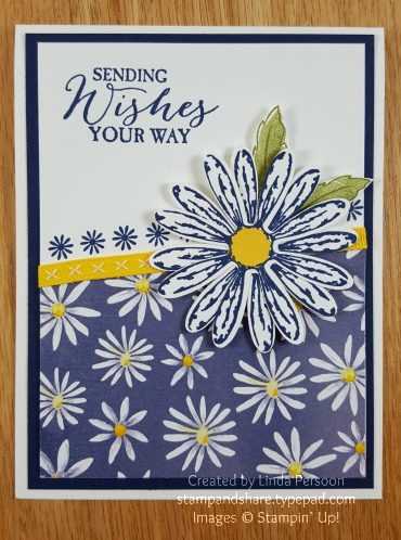 Daisy Delight Card in Night of Navy by Linda Persoon stampandshare.typepad.com