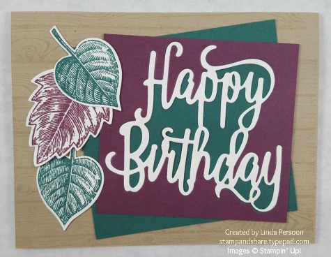 Happy Birthday Thinlit with Vintage Leaves by Linda Persoon stampandshare.typepad.com