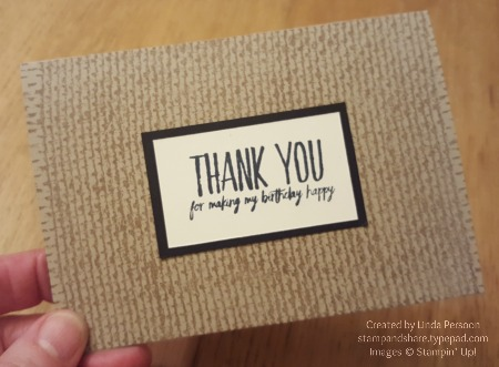 Burlap Thank You Note with All Things Thanks by Linda Persoon stampandshare.typepad.com
