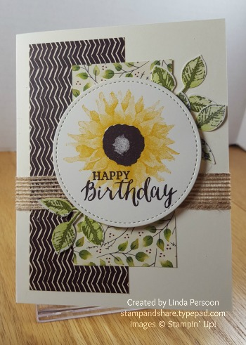 Painted Harvest Sunflower Birthday Card by Linda Persoon stampandshare.typepad.com